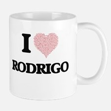 I Love Rodrigo (Heart Made from Love words) Mugs