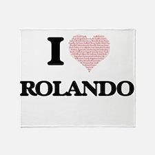 I Love Rolando (Heart Made from Love Throw Blanket