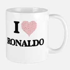 I Love Ronaldo (Heart Made from Love words) Mugs