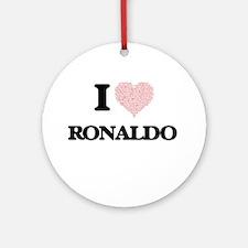 I Love Ronaldo (Heart Made from Lov Round Ornament