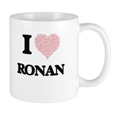 I Love Ronan (Heart Made from Love words) Mugs