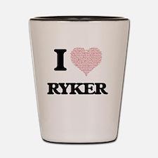 I Love Ryker (Heart Made from Love word Shot Glass