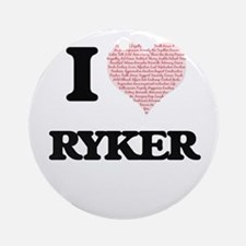 I Love Ryker (Heart Made from Love Round Ornament