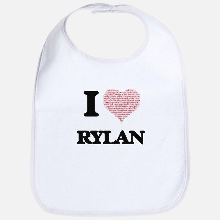 I Love Rylan (Heart Made from Love words) Bib
