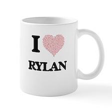 I Love Rylan (Heart Made from Love words) Mugs