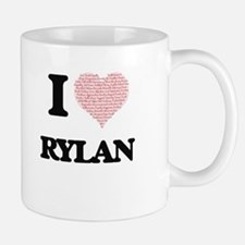 I Love Rylan (Heart Made from Love words) Mugs