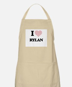 I Love Rylan (Heart Made from Love words) Apron