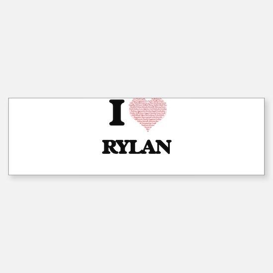 I Love Rylan (Heart Made from Love Bumper Car Car Sticker