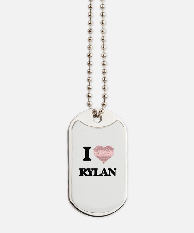 I Love Rylan (Heart Made from Love words) Dog Tags