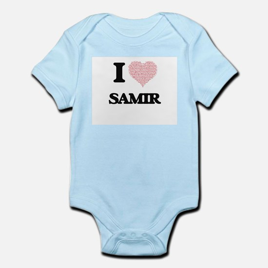 I Love Samir (Heart Made from Love words Body Suit