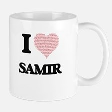 I Love Samir (Heart Made from Love words) Mugs