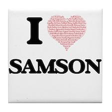 I Love Samson (Heart Made from Love w Tile Coaster