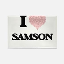 I Love Samson (Heart Made from Love words) Magnets