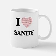 I Love Sandy (Heart Made from Love words) Mugs