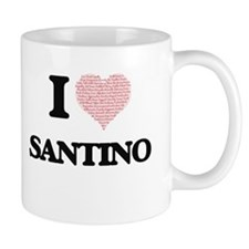 I Love Santino (Heart Made from Love words) Mugs