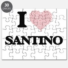 I Love Santino (Heart Made from Love words) Puzzle