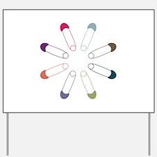 Colorful Diaper Pins Yard Sign