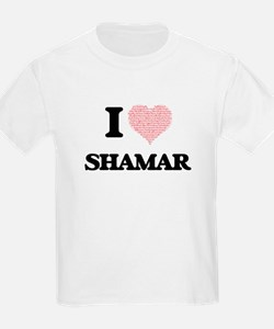 I Love Shamar (Heart Made from Love words) T-Shirt