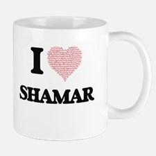 I Love Shamar (Heart Made from Love words) Mugs