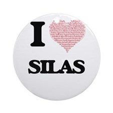 I Love Silas (Heart Made from Love Round Ornament