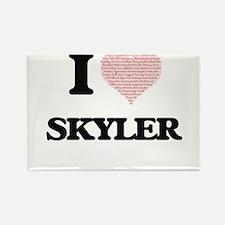 I Love Skyler (Heart Made from Love words) Magnets