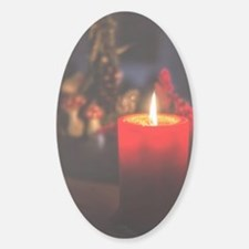 Red Christmas Candle Sticker (Oval)