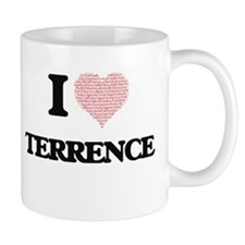I Love Terrence (Heart Made from Love words) Mugs