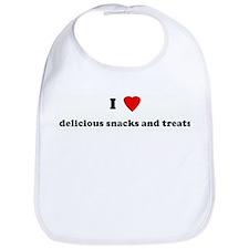I Love delicious snacks and t Bib
