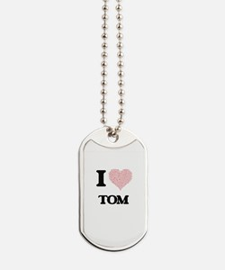 I Love Tom (Heart Made from Love words) Dog Tags