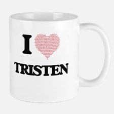 I Love Tristen (Heart Made from Love words) Mugs