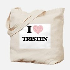 I Love Tristen (Heart Made from Love word Tote Bag