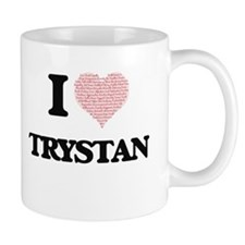 I Love Trystan (Heart Made from Love words) Mugs