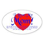 I Love Mom! Oval Sticker