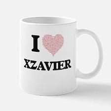 I Love Xzavier (Heart Made from Love words) Mugs