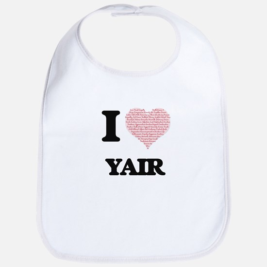 I Love Yair (Heart Made from Love words) Bib