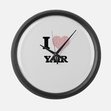 I Love Yair (Heart Made from Love Large Wall Clock