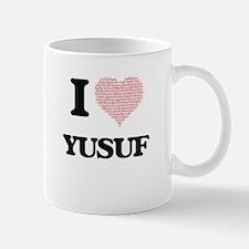 I Love Yusuf (Heart Made from Love words) Mugs