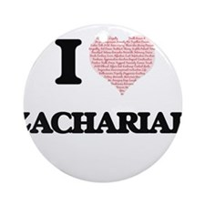 I Love Zachariah (Heart Made from L Round Ornament