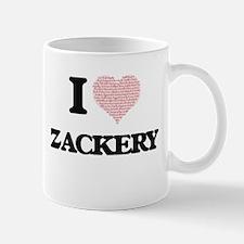 I Love Zackery (Heart Made from Love words) Mugs