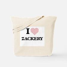 I Love Zackery (Heart Made from Love word Tote Bag