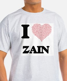I Love Zain (Heart Made from Love words) T-Shirt