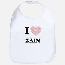 I Love Zain (Heart Made from Love words) Bib