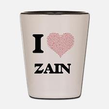I Love Zain (Heart Made from Love words Shot Glass