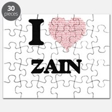 I Love Zain (Heart Made from Love words) Puzzle