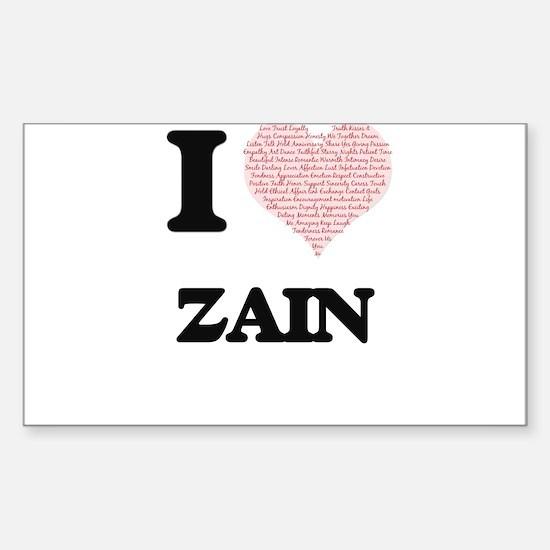 I Love Zain (Heart Made from Love words) Decal