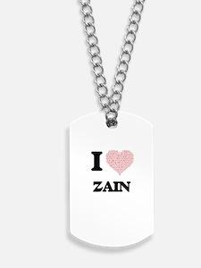 I Love Zain (Heart Made from Love words) Dog Tags