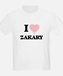 I Love Zakary (Heart Made from Love words) T-Shirt