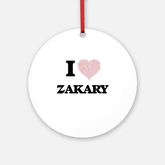 I Love Zakary (Heart Made from Love Round Ornament