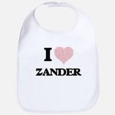 I Love Zander (Heart Made from Love words) Bib