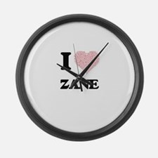 I Love Zane (Heart Made from Love Large Wall Clock
